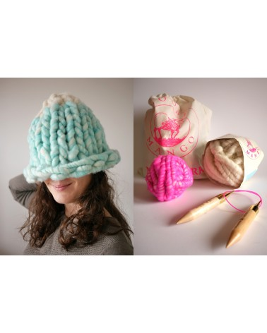 Kit tricot Helsinki Hat (bicolore rose et blanc)