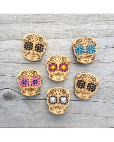 Boutons à broder en bambou : Crâne