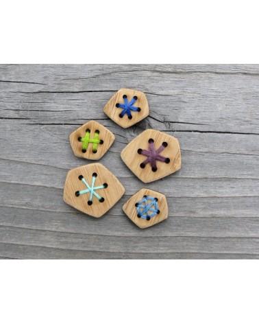 Boutons à broder en bambou : Polygone