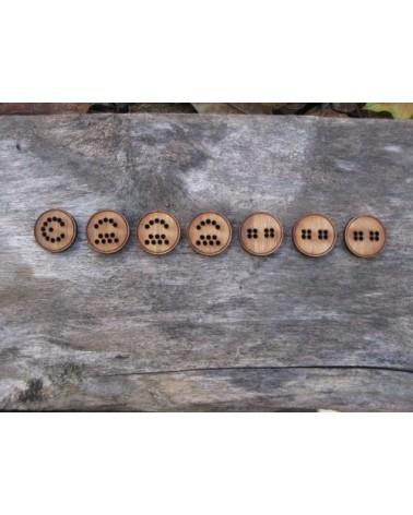 Boutons à broder en bambou : Pacman